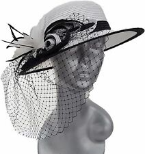Poly Braid Wedding Church Dress Kentucky Derby Tea Parties Womens Hat White/Blk