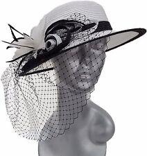 Poly Braid Wedding Church Dress Kentucky Derby Tea Parties Womens Hat White/Blk