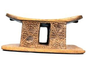 Art Africain - Ancien Appui Nuque ou Tabouret Akan Baoulé - Charme ++++++ 29 Cms