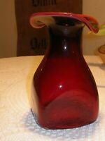 "Glas-Vase rot Polen Jerzy Sluczan ""Napoleon"" Sklo Sodowe 80er Jahre ca. 15 cm"