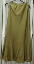 "LAURA ASHLEY Vintage Linen Maxi Skirt UK10 34"" Waist 37"" Long Ruffle Buff Camel"