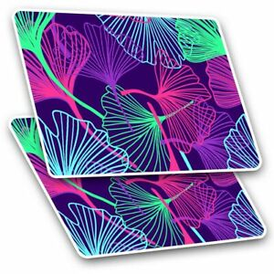 2 x Rectangle Stickers 10 cm - Pretty Neon Leaves Tropical Pattern #14317