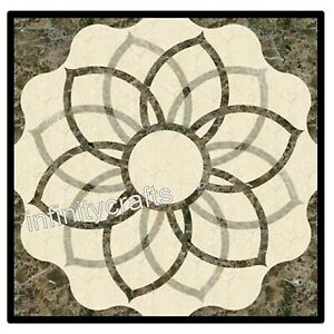 24 Inches Cottage Art Inlaid Square Marble Sofa Table Top Patio Center Table
