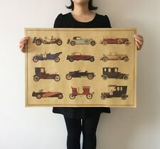 Retro vintage car collection painting Vintage paper Poster 28x20.3inch GIFT