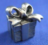 Present Gift Box Square Sterling Silver 3D Bracelet Charm Pendant Embellishment