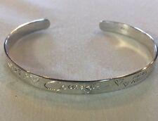 "❤️STERLING SILVER❤️""LOVE LIFE"" Engraved Cuff Mantra Inspirational Bracelet"