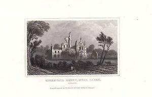 1840 Viktorianisch Aufdruck ~ Kirkstall Abbey Nr Leeds ~ Yorkshire