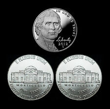2012 P+D+S Jefferson Nickel Set ~ Proof Coin & PD Uncirculated from Bank Rolls