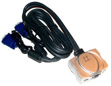 NEW 2 WAY PS/2 + VGA TO USB + VGA KVM SWITCH COMPLETE WITH INTEGRATED CABLE SETS