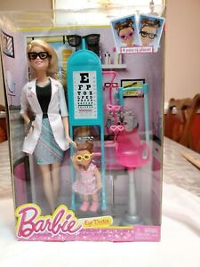 NEW 2015 Barbie CAREERS I Can Be An EYE DOCTOR Doll Playset Bonus Toddler Doll !