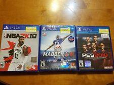 PS4 Playstation 4 LOT 3 PES 2018 NBA 2K18 Madden NFL 16 BRAND NEW SEALED READ