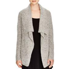 Eileen Fisher 6901 Womens Gray Wool Blend Shawl-Collar Sweater Jacket M BHFO
