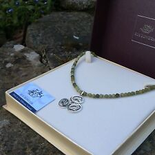 Connemara marble sterling silver pendant necklace. Celtic dragon Welsh tri knot
