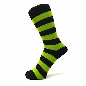 Black And Lime Green Thick Striped Ankle Socks (Size: 6-11)