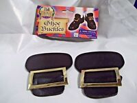 Colonial Pilgrim Shoe Buckles Black with Gold Metal Buckle Colonial Costume