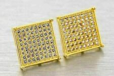 Lab Made SIMULATED DIAMOND 14K Gold Finish Screw Back 14mm Earrings Iced Hip Hop