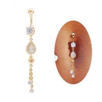 Navel Belly Button Ring Crystal Rhinestone Barbell Dangle Bar Body Piercing Ring