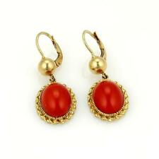 Coral Yellow Gold Fine Earrings
