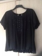 """Lovely """"Little Black Top"""" Size 18 Black with Black Sequins Blouson Style Evening"""