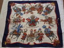 "Hermes silk jacquard scarf 90cm / 36"" square ' Les fetes du Roi Soleil ' used"