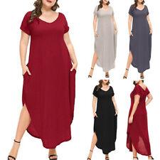 Women's Plus Size V-Neck Loose Long Dress Simple Style  Side Split Maxi Dresses