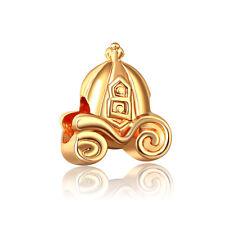 18K Gold plate Fairy Tale Princess Pumpkin Car Charm Bead ForBracelet Necklace