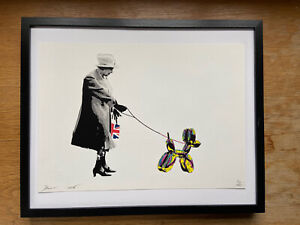FRAMED RARE DEATH NYC QUEEN WALKS BALLOON DOG Print 45cmx32cm COA not Banksy