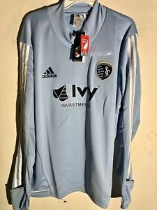 Adidas Long Sleeve MLS Jersey Kansas City Sporting Team Light Blue sz M