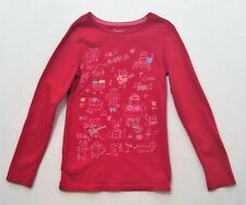 Gap Kids Sparkly Animals Music Themed LS Red Top, M (8)