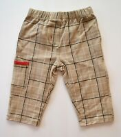 Petit Lem Plaid Knit Baby Boy Pants, Tan, Black and White.  Size 9m