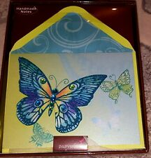 8 PC PAPYRUS CARDS GLITTERY BUTTERFLY BLANK ALL OCCASIONS