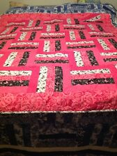 Hot Pink, Black & White Butterfly Throw