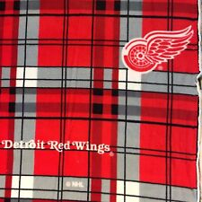 NHL HOCKEY DETROIT RED WINGS PLAID FLEECE FABRIC MATERIAL BY THE 1/2 YARD CRAFTS