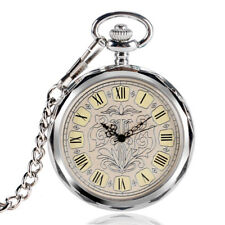 Luxury Open Face Mechanical Flower Pocket Watch Men Women Hand Winding Silver