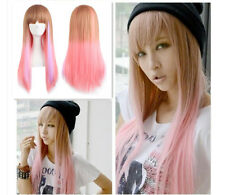 70cm Long Straight Cosplay Gradient Wig Multi-Pink Mixed Full Party Wigs+Cap