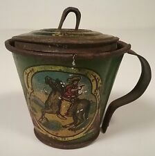 Tin Child's Kitchen Ware Toy Doll Picher w/ Lid Cowboy & Cowgirl Horse Litho