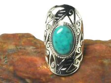 Oval Tibetan Turquoise Sterling  Silver  925  Gemstone  Ring  - (P)