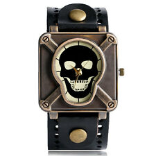 Fashion Punk Cool Skull Boy Mens Womens Leather Quartz Wrist Watch Square Gift
