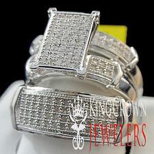14k White Gold Finish Genuine Diamond Engagement Wedding Bridal Trio Rings Set
