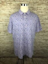 Tommy Hilfiger Slim Fit Purple Floral Men's Short Sleeve Polo Shirt XXL - E3
