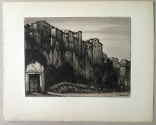 CELESTINO CELESTINI Gravure eau forte etching paysage ville etrusqe Pitigliano