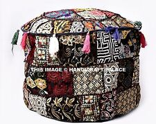 Indian Pouffe Cover Embroidered Patchwork Bohemian Cotton Ottoman Footstool 22""