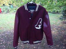 Rennoc Classic Wool & Leather Varsity Jacket Maroon Lettered A Size M NWOT