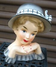 HEAD VASE RELPO K1175L 7 inches high  HEADVASE lady grey hat and dress 2 hands