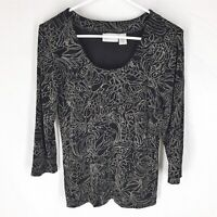 CHICO'S TRAVELERS Black Knit Top Floral Stretch Career Womens SIZE 0