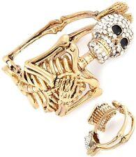 Skeleton Skull Rock Crystals Edgy Hinged Bracelet  Goldtone