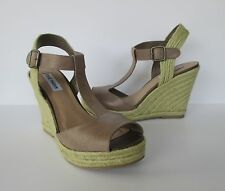 Steve Madden Womens Tan Leather Espadrille T-Strap Wedge Heel Sandals Shoes 10 M