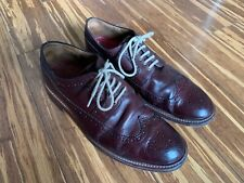 Grenson Sid Leather Longwing Brogues Shoes Burgundy Size 9
