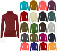 POLO NECK TOP STRETCH LADIES ROLL NECK LONG SLEEVE TURTLE NECK TOP 8-14