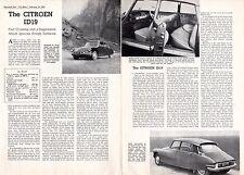 Citroen ID 19 Saloon Road Test 1959 UK Market Foldout Brochure Motor DS